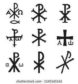 Christian symbols icons set. Glossy Chi Rho, Christogram, Chrismon, Labarum symbols set.