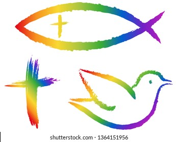 Christian symbols in rainbow colors: Crucifix, fish, dove