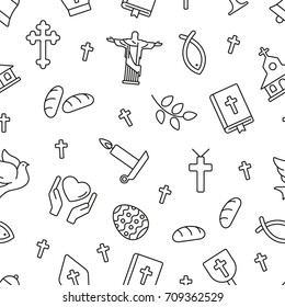 Christian symbols seamless pattern. Tiling textures with thin line black and white icon set