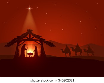 Christian theme, Christmas star and the birth of Jesus, illustration.