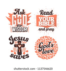 Christian typography and lettering. Illustrations of biblical phrases.