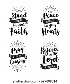 Christian Vector Biblical Emblem Set, Stand Firm in the Faith, Let Peace Rule in your Hearts, Pray without ceasing, Rejoice in the Lord, 4 designs in collection