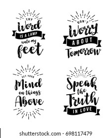 Christian Vector Biblical Emblem Set, Thy Word is a Lamp unto my feet, Don't worry about tomorrow, Set your Mind on Things Above, Speak the Truth in Love, 4 designs in collection