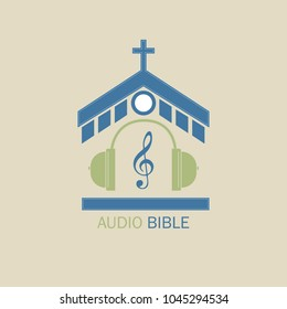 Christian vector logo for music radio stations. In the center of the church, headphones and a treble clef symbolize the audio Bible.