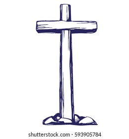 Christian wooden cross. Easter, symbol of Christianity hand drawn vector illustration sketch