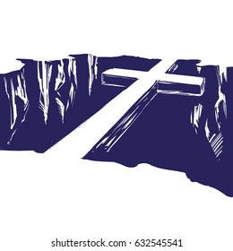 Christian wooden cross  lying over the chasm, bridge uniting us with God. Easter . symbol of Christianity hand drawn vector illustration sketch