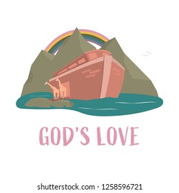 Christian worship and praise. Noah's ark with rainbow and text: God's love