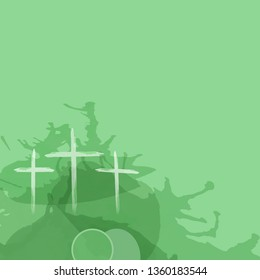 Christian worship and praise. Crosses and empty tomb in watercolor style with empty space.