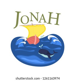 Christian worship and praise. Jonah and the whale with text: Jonah
