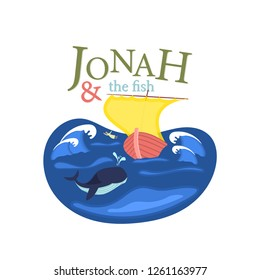 Christian worship and praise. Jonah and the whale with text: Jonah & the fish