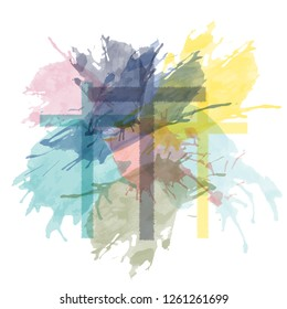 Christian worship and praise. Three crosses with watercolor splashes.