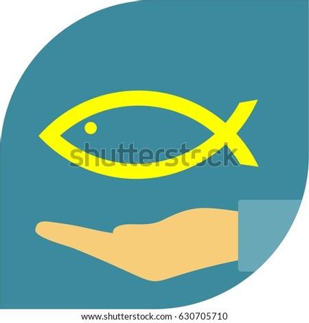 Christian Yellow Fish Icon Religion Symbol Stock Vector Royalty