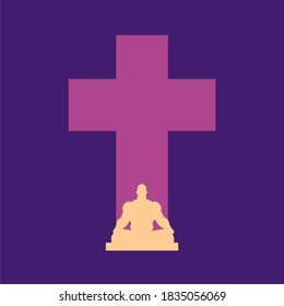 Christianity concept illustration. Man in kotus pose and cross