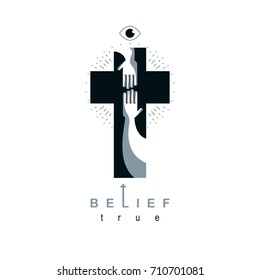 Christianity Cross true belief in Jesus vector symbol, Christian religion icon. Hand of believer extends to the hand of God, helping and love of Jesus.