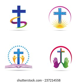 Christianity cross vector design represents church logos, Christianity organizations, signs and symbols.
