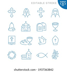 Christianity related icons. Editable stroke. Thin vector icon set