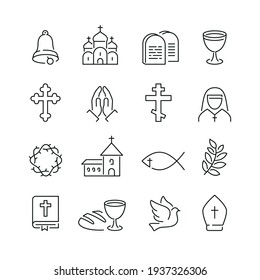 Christianity related icons: thin vector icon set, black and white kit