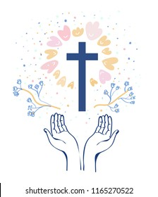 Christianity religion background with hands or prayer and cross, flowers around. Vector graphic illustration