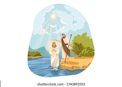 Christianity, religion, Bible concept. Baptism blessing of Jesus Christ son of God messiah prophet in Jordan river water by John Baptist descending Holy Spirit. New Testament biblical religious series