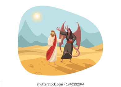Christianity, religion, Bible concept. New Testament biblical religious series illustration. Temptation of Jesus Christ son of God messiah by Satan Devil in Judaen wasteland for 40 days and nights.