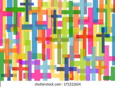Christianity religion cross mosaic concept abstract background vector illustration