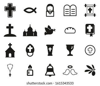 Christianity Religion & Religious Items Icons Black & White Set Big