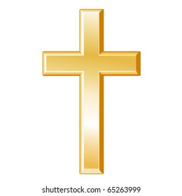 Christianity Symbol.  Golden cross, icon of the Christian faith isolated on a white background. EPS8 compatible.