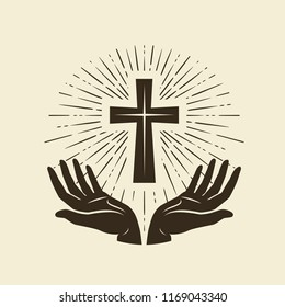 Christianity symbol of Jesus Christ. Cross, worship logo. Vintage vector illustration