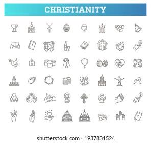 Christianity vector symbols. Set symbols religion and church line icon