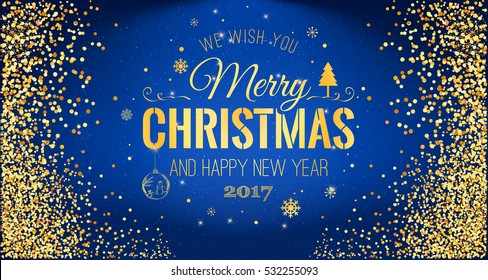 Christmas 2017 and New Year typographical on blue background with Gold glitter texture. Vector illustration for golden shimmer background. Xmas card. Vector Illustration