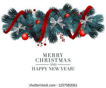 Christmas 2019 greeting card with holiday 3d objects. Merry Christmas and happy new year typography with fir border, garland, balls, bows. Realistic holiday decoration elemets