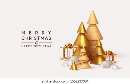 Christmas 3D render illustrations. Composition from golden metallic pine, spruce trees. cubic hollow gifts box, white snow drifts. New Year cone shape trees. Xmas background, realistic objects design.