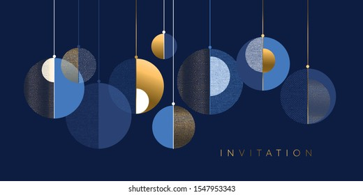 Christmas abstract baubles elegant geometric header. Lux and business vibes laconic xmas design element for card, header, invitation, poster, social media, post publication.
