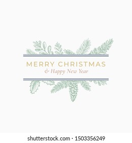 Christmas Abstract Botanical Label with Rectangle Frame Banner and Modern Typography. Green, Grey and Pink Pastel Colors Greeting Layout. Isolated.