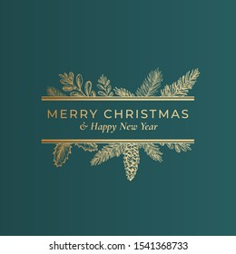 Christmas Abstract Botanical Label with Rectangle Frame Banner and Modern Typography. Classy Green and Golden Colors Greeting Layout. Holiday Social Media Post Template. Isolated.