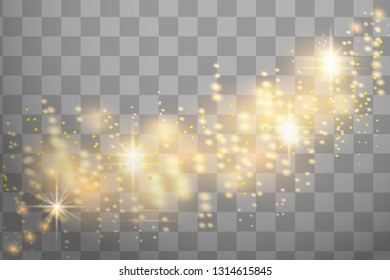 Christmas abstract pattern. Shiny stars on transparent background. Sparkling magic dust particles. White sparks and golden stars shine with special light. Vector astronomy illustration