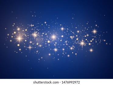 Christmas Abstract stylish light effect on a blue background. Yellow dust yellow sparks and golden stars shine with special light. Vector luxury sparkles Sparkling magical dust particles.