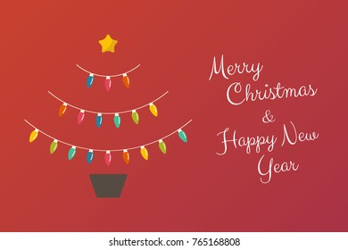 Christmas abstract tree with flowerpot made of  bulbs lights. Vector illustration. Merry Christmas.