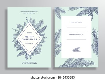 Christmas Abstract Vector Frame Greeting Card, Poster or Background. Back and Front Invitation Design Layout with Classy Typography. Sketch Pine Branches, Holly, Mistletoe and Flowers. Isolated.