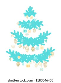 Christmas adornment  on turquoise spruce tree branches, garlands on white background