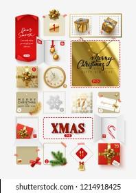 Christmas advent calendar for 24 days. Vector illustration.