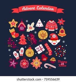 Christmas advent calendar with bell, house, tree, sweater, flower, elf, mittens, star, candy and bell. Perfect for winter holidays