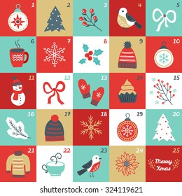 Christmas Advent Calendar with bird, branches, Christmas balls, bow, cup of tea, woolen hat, mittens, cupcake, fir branch, sweater, poinsettia, fir tree, snowman, flower and snowflakes