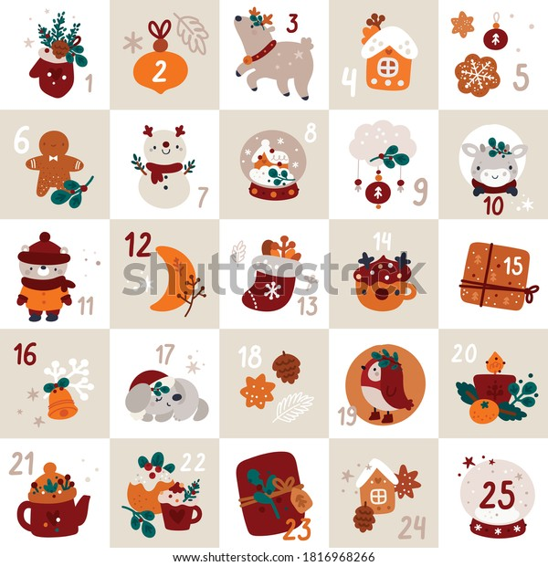 Christmas advent calendar with bull, reindeer, snowman, ginger man, cute baby animals and gifts, hand drawn cartoon style. Illustration with festive decorations and numerals. Christmas theme.