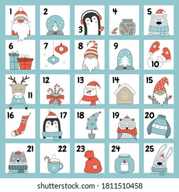 Christmas advent calendar with cute animals, gnomes, Santa Claus, a snowman in winter clothes. Vector illustration with winter holiday design elements. Countdown calendar.