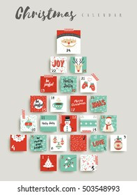 Christmas advent calendar, cute holiday season decoration countdown to xmas day celebration. EPS10 vector.