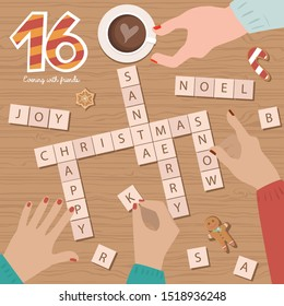 "Christmas Advent Calendar, Day 16. Spend evening time with friends, Play the game ""Scrabble"". Top view process. Lifestyle Vector Illustration."