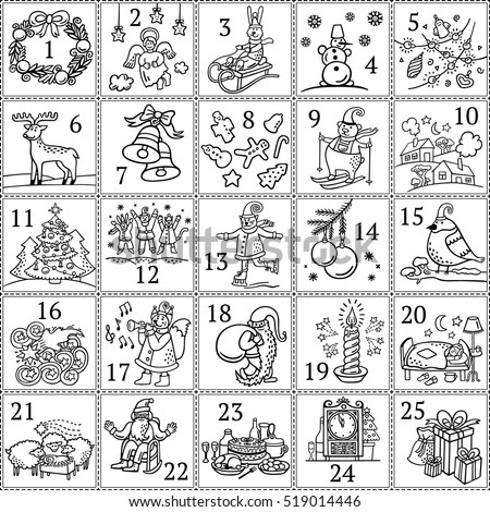 christmas advent calendar coloring pages | Christmas Advent Calendar December Colouring Book Stock ...