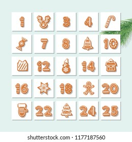 Christmas advent calendar, decorated wirh gingerbread cookies and numbers. Vector