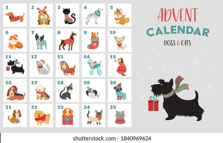Christmas advent calendar with dogs. Funny Xmas poster with puppies, dogs wearing winter clothes, Christmas accessories icons set